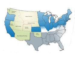 Map of the division of the states during the Civil War. Blue represents Union states; light blue, Union states that permitted slavery; gray, Confederate states; green, Territories.