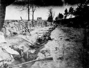 Confederate dead behind the stone wall of Marye's Heights, Fredericksburg, Virginia, killed during the Battle of Chancellorsville, May 1863.