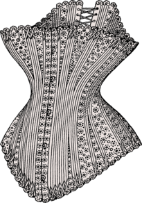 Hourglass corset from around 1880. It features a busk fastening at the front and lacing at the back.