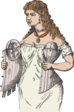 A woman putting a corset on. She is wearing a chemise underneath, and the corset has bosom pads.