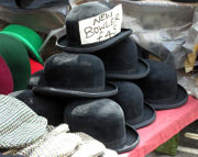 Bowler hats for sale on a market stall