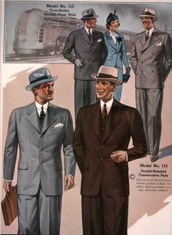 Men and women wearing suits, an example of one of the many modern forms of clothing (from the 1937 Chicago Woolen Mills catalog)