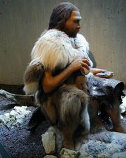 A Neandertal clothed in fur
