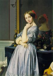 Jean Auguste Dominique Ingres depicts the Countesse d'Haussonville, wearing a dress.
